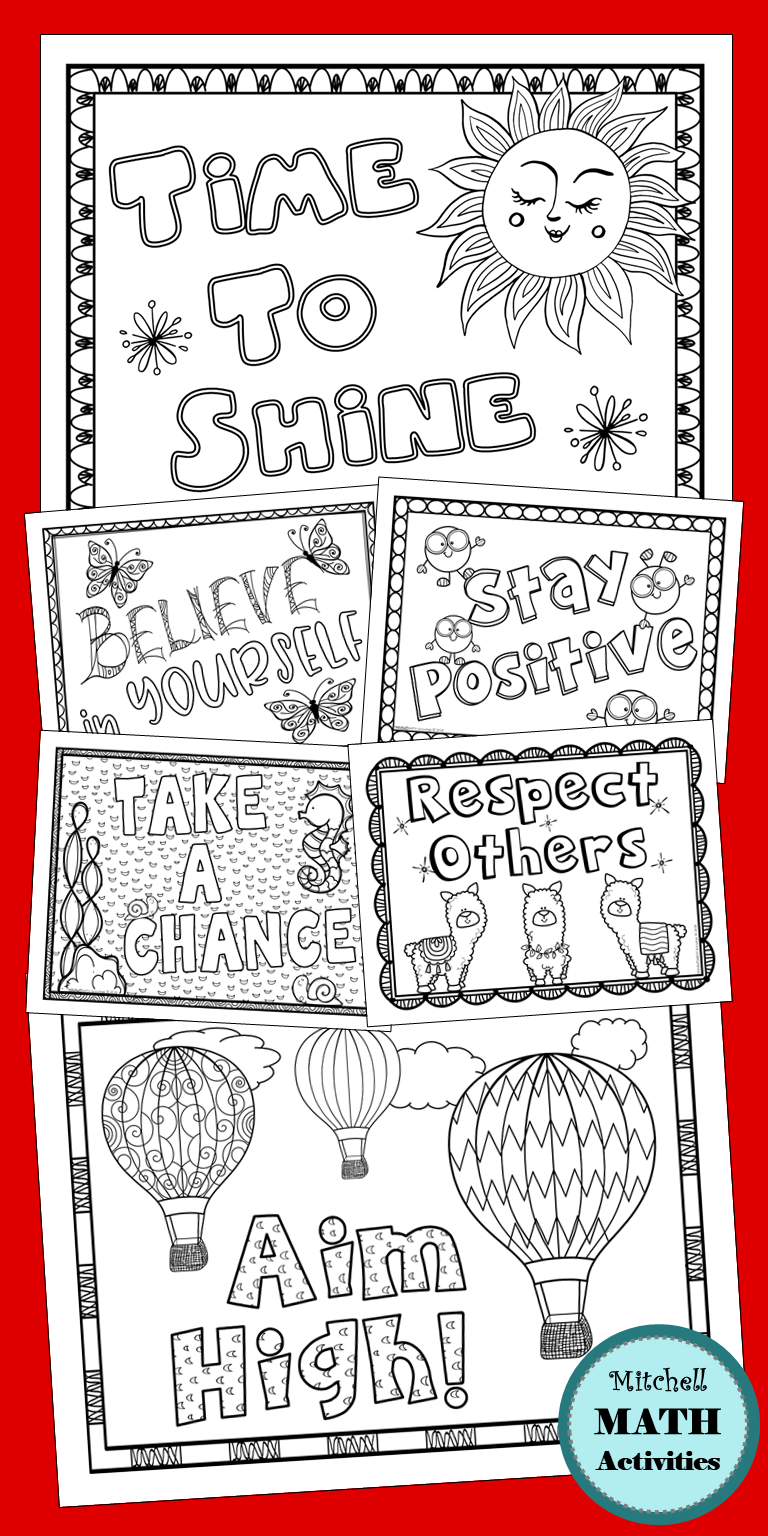 Set Of 10 Motivational Coloring Pages Students Will Enjoy This Fun And Meaningful Activity The Pages Are Learning Printables Coloring Pages Spring Resources