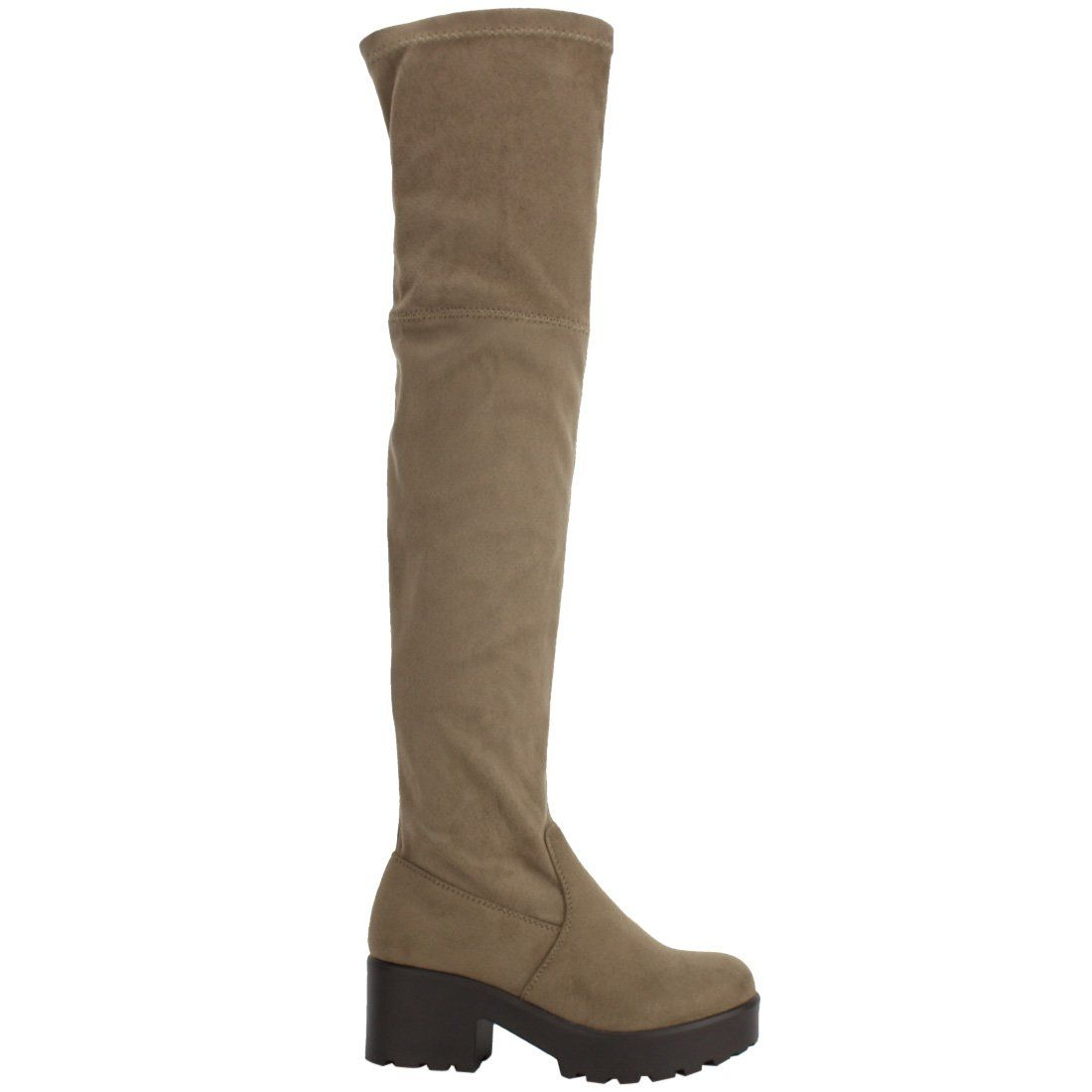 fc93500a1a9d ShoBeautiful Womens Thigh High Platform Boots Sexy Chunky Block Heel Stretch  Pull on Over The Knee