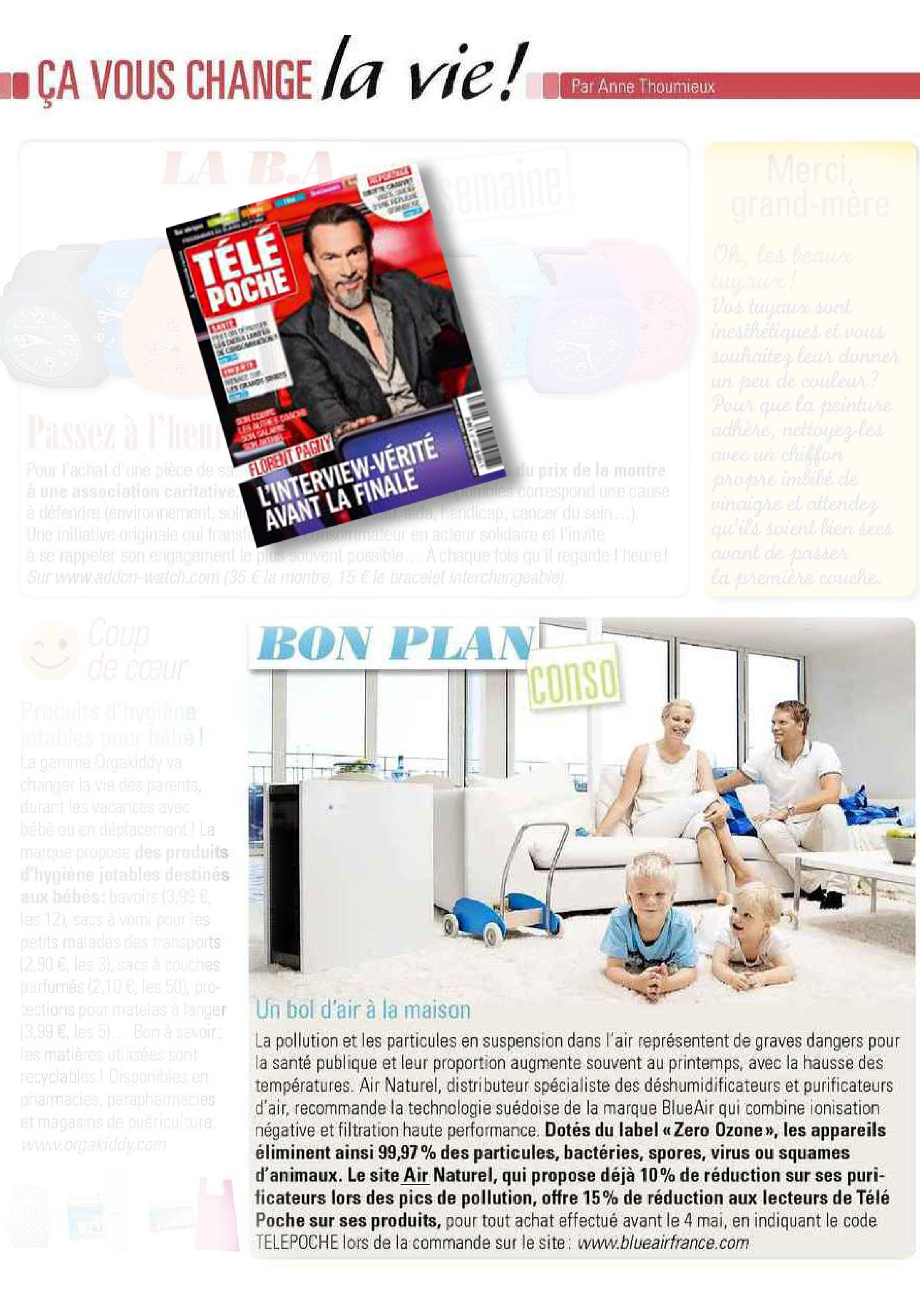 Avril 2015 : Les purificateurs d'air Blueair sont en promotion grâce au magazine Télé Poche, un bol d'air pour ses lecteurs.