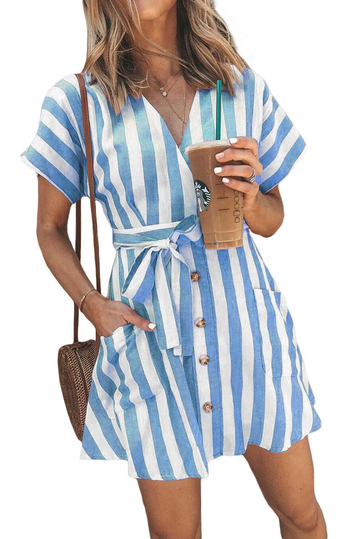 Sky Blue Stripe Short Sleeve Casual Fashion Dress Blue Dress Casual Shirt Dress Casual Short Shirt Dress [ 1500 x 1001 Pixel ]