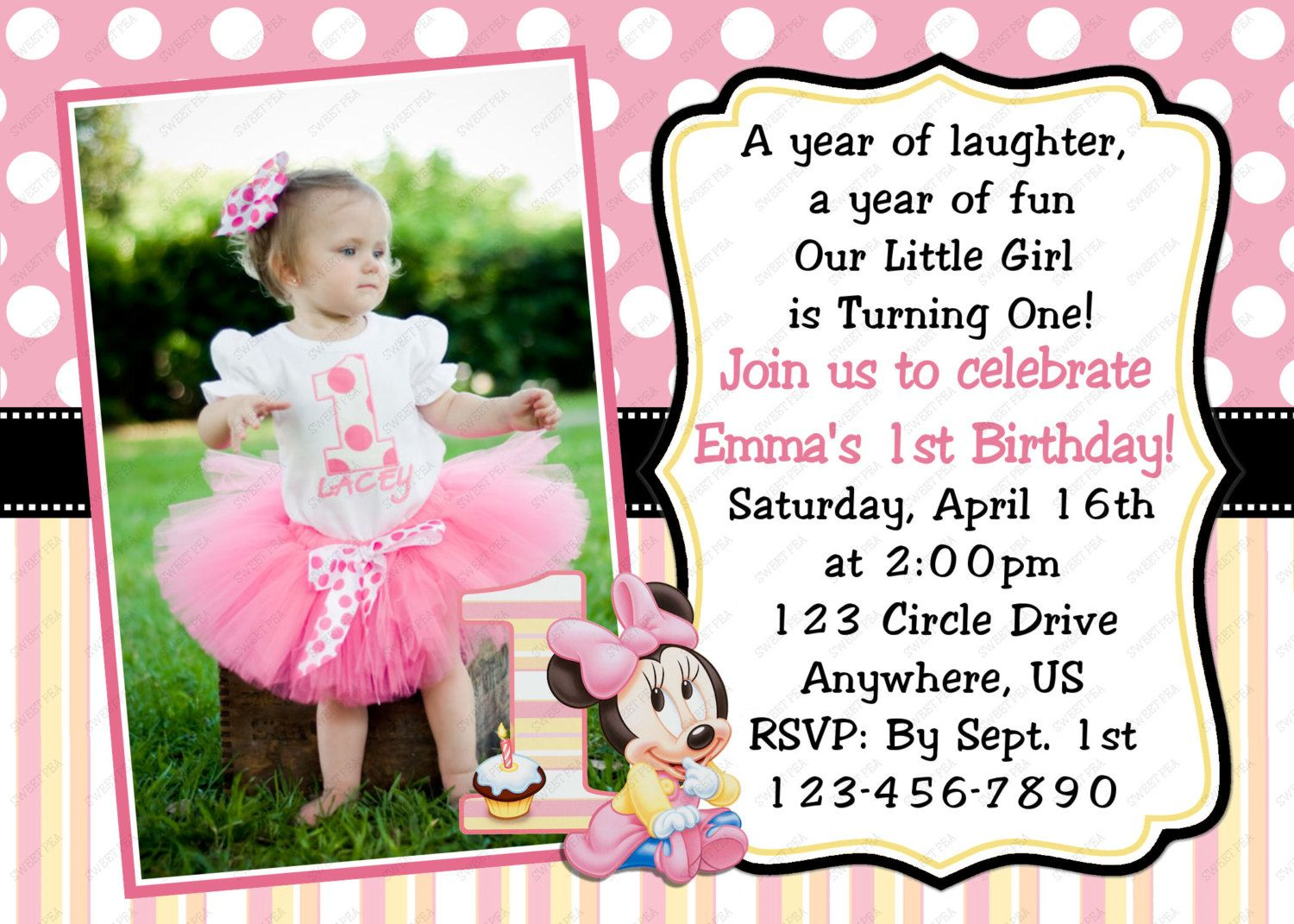 Minnie Mouse Baby 1st First Birthday Invitation OR Thank you Card ...