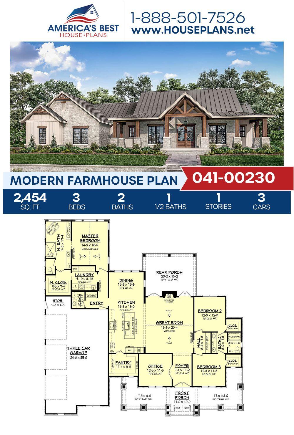 Modern Farmhouse Plan 041-00230