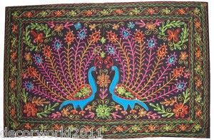 Ethnic Indian Hand Crafted Embroider Peacock Wall Hanging Home