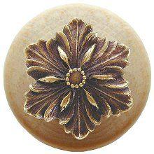 Opulent Flower Wood Knob in Antique Brass/Natural wood finish
