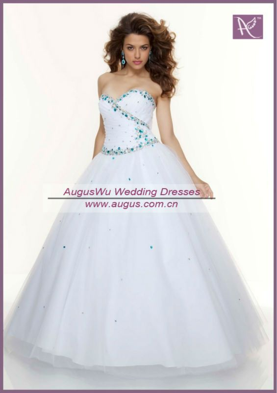 APB0814+Formal+Sweetheart+Neckline+Turquoise+Beaded+Long+White+Prom+ ...