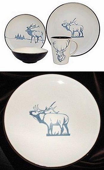 Moose Dinnerware Set : moose, dinnerware, PIECE, SONOMA, WILDLIFE, DINNERWARE, Lodge, Woods, Rustic, Moose, Cabin, #SONOMA, Antler, Hunting,, Deer,, Antlers