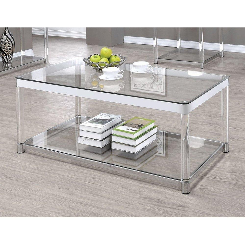 Vertigo Glass And Acrylic Coffee Table Clear Coffee Table Rectangle Glass Top Coffee Table Coffee Table With Shelf