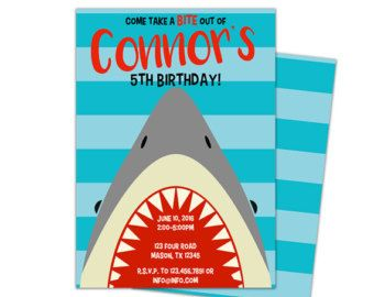 Shark Birthday Invitations Printable By ABOcustomDesign