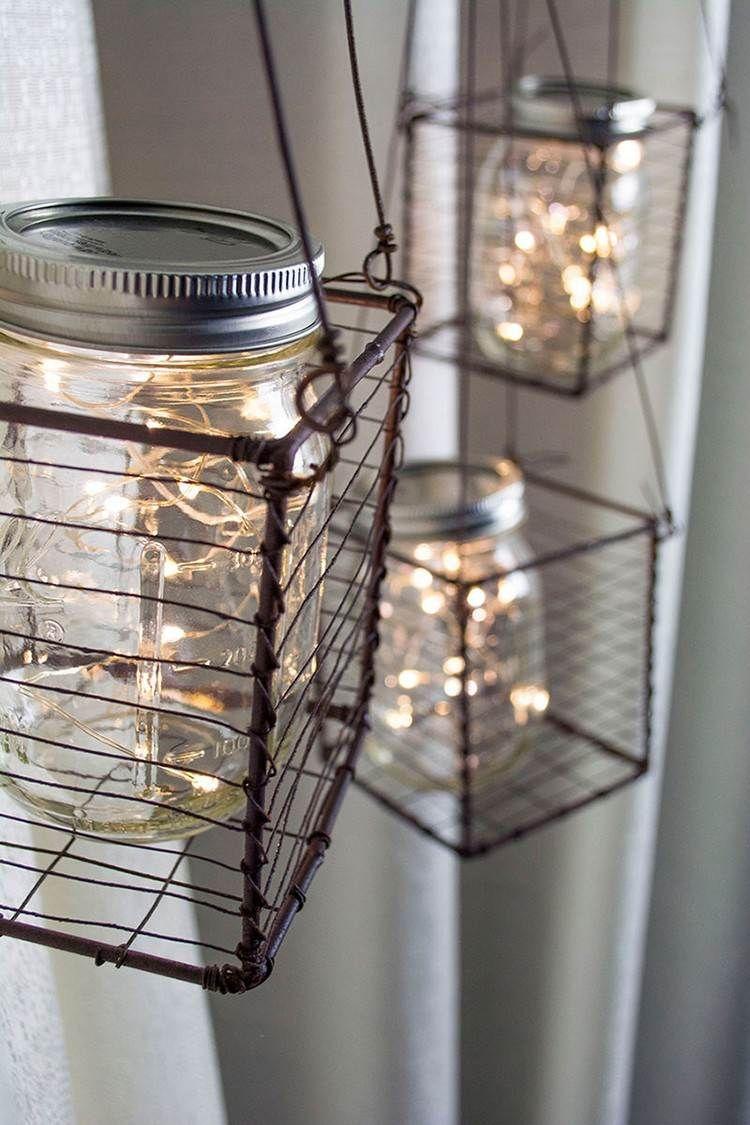 Hängende Drahtkörbe kreativ gestalten   svetlo-lampe   Pinterest ...