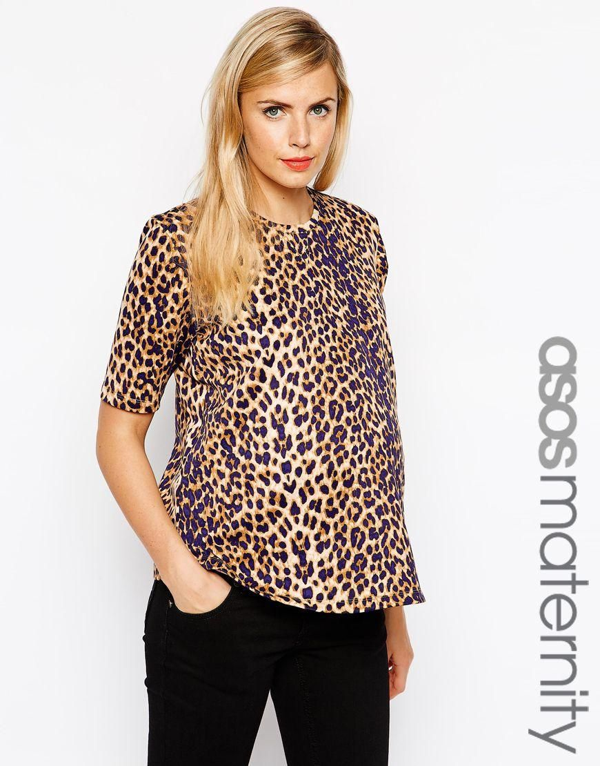 08c6d65006879 ASOS Maternity | ASOS Maternity Scuba T-Shirt in Leopard Print at ASOS
