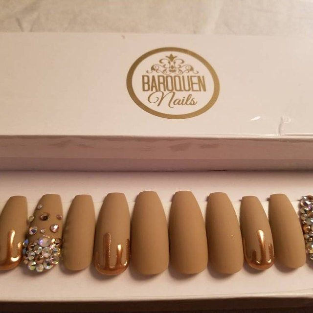 Photo of Hunny • Gold Chrome Drip Nails | Matte Nude Press On Nails | Crystal Accent Nail Art Glue On Nails | Fake Nails | False Nails |Gel Manicure
