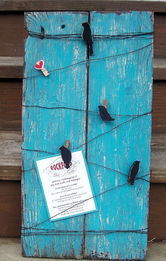 Rustic wood bird on a wire message memo board with bird clothespin ...