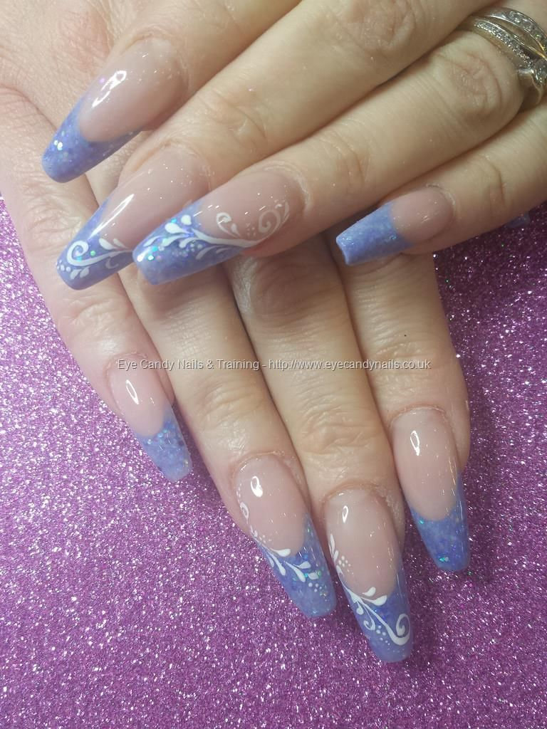 Blue 62 acrylic tips with glitter and freehand nail art | 3D + One ...
