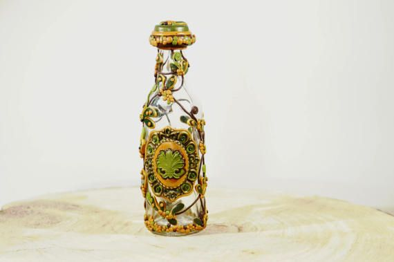 Message in a bottle Elegantly decorated bottle door PolyGlassArt