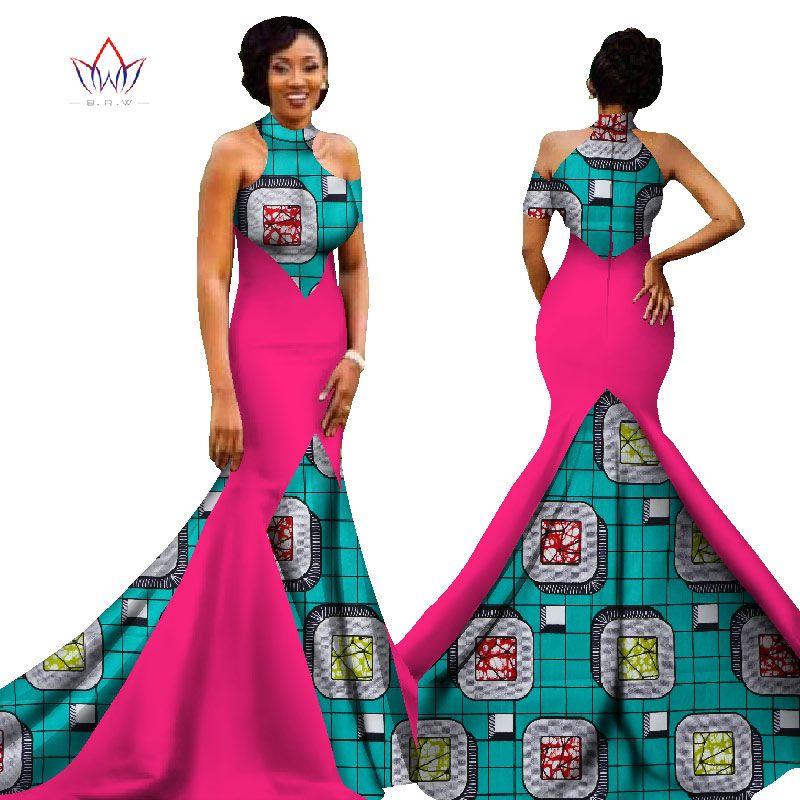 BRW 2017 New African Women Long Dresses Dew Shoulders Women Formal ...