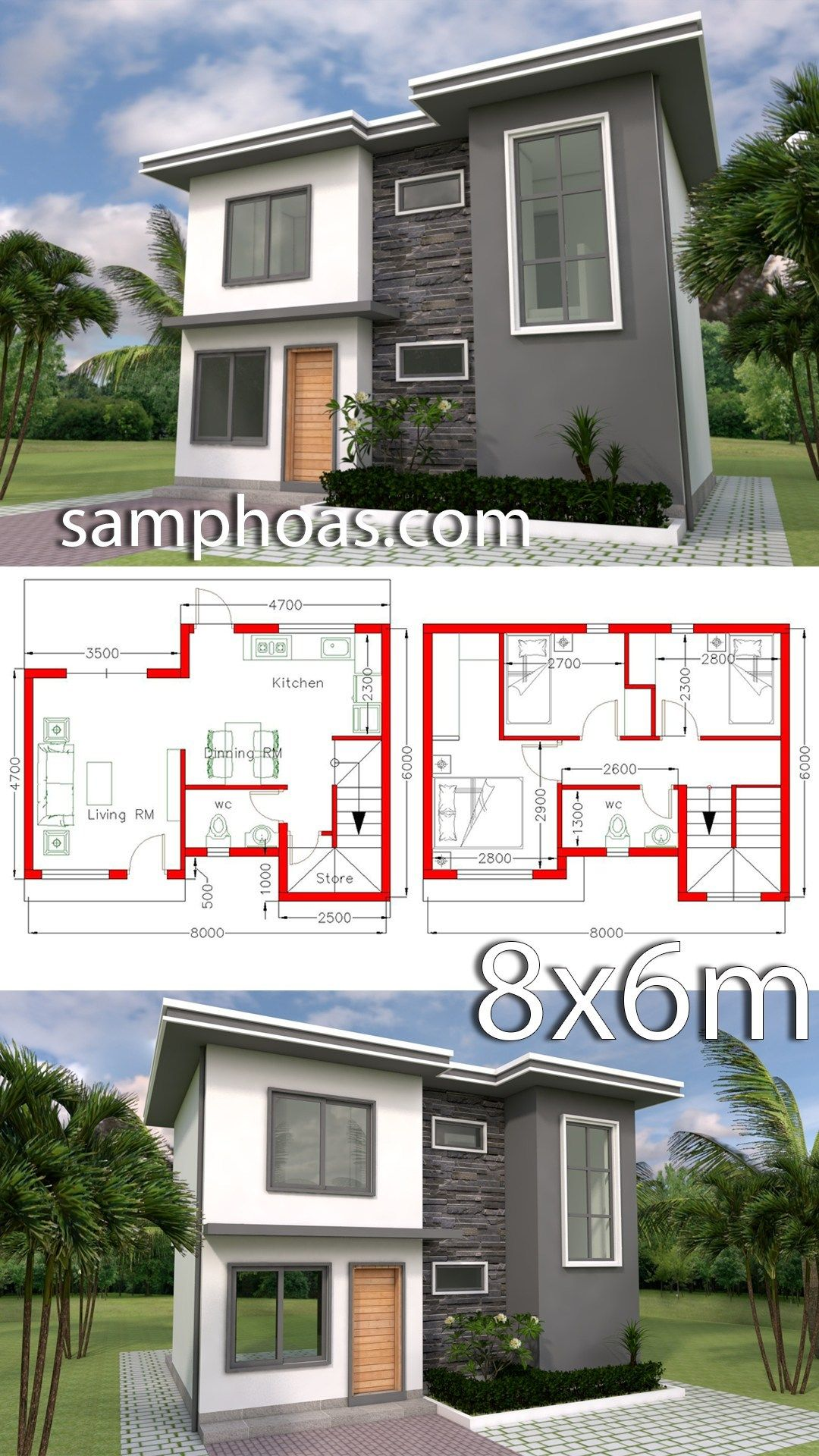 Plan 3d Home Design 8x6m With 3 Bedrooms Bungalow House Design