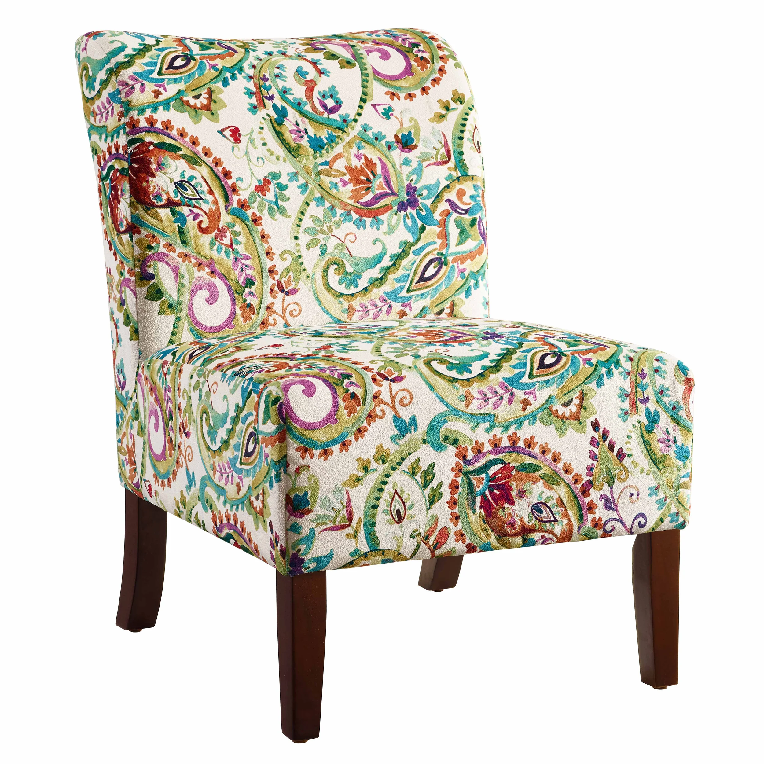 Best Jules Curved Back Paisley Slipper Chair Multicolor Linon 400 x 300