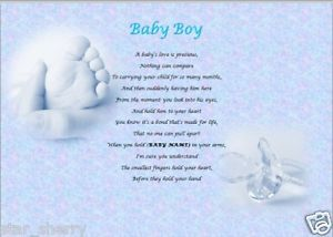 Baby Boy Personalised Poem Laminated Gift Baby Photography