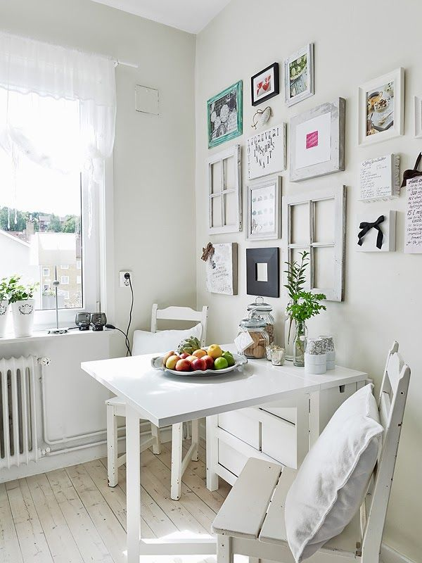 Oh how I wish my ikea norden were white. But the frame wall above could be the ticket for our dining nook.