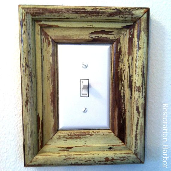 Upcycled New Orleans Architecture Light Switch Frame by RestorationHarbor,  $20.00 - RESERVED FOR AMANDA New Orleans Reclaimed Frame, Green Light