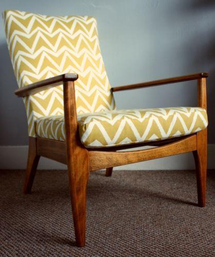 Parker Knoll Armchair Mid Century Retro Mustard Zigzag