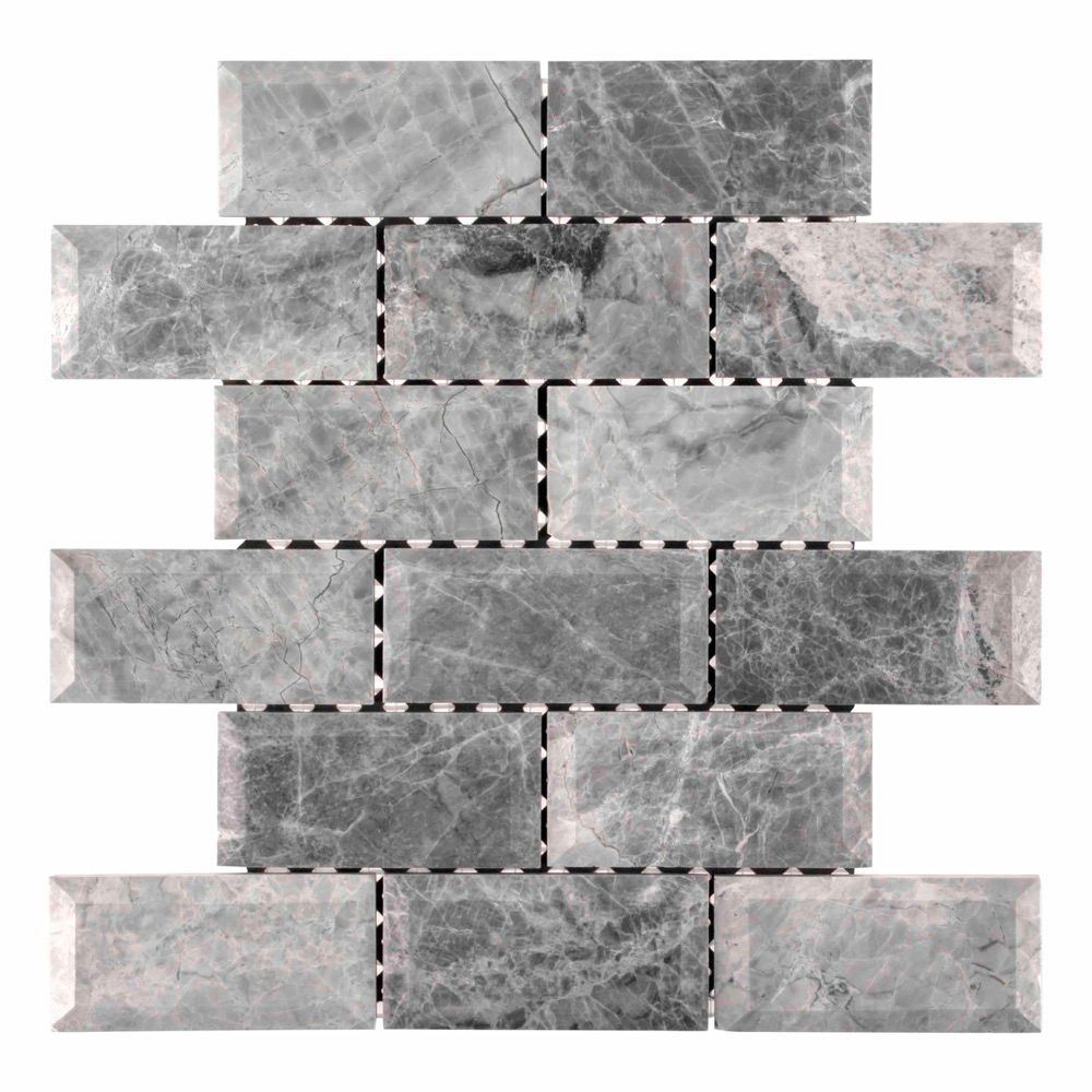 - Tundra Grey 2 X 4 Bevelled 12-inch X 12-inch X 10 Mm Marble Mosaic