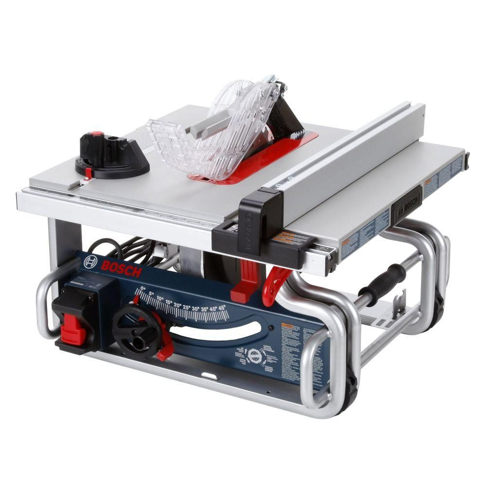 Bosch 15 Amp Corded 10 In Worksite Portable Bench Table Saw With Smart Guard System And 24 Tooth Carbide Saw Blade Portable Table Saw