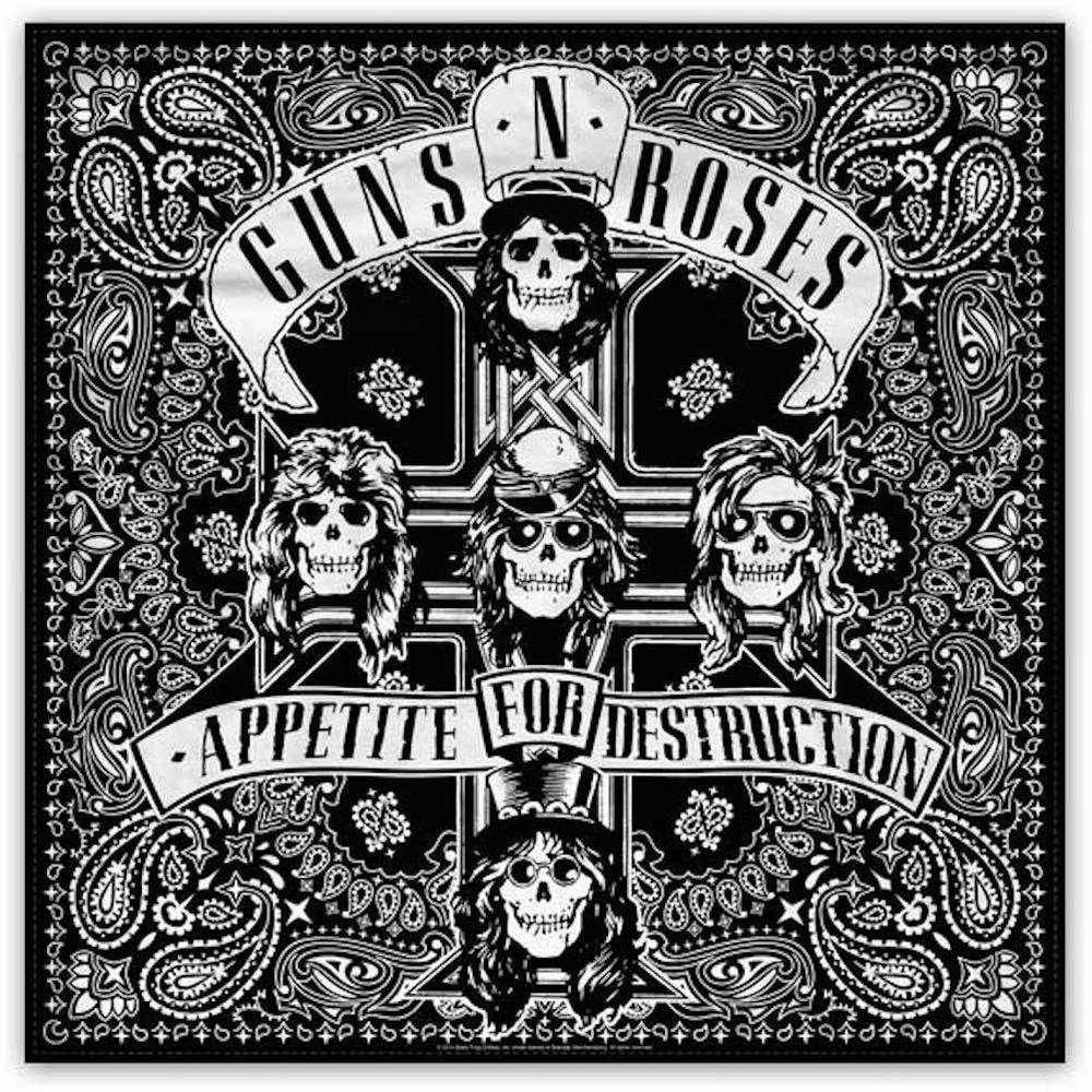 Guns N Roses Gnr Appetite Full Print Design Cotton Bandana Póster De Música Camisetas De Rock Carteles De Rock