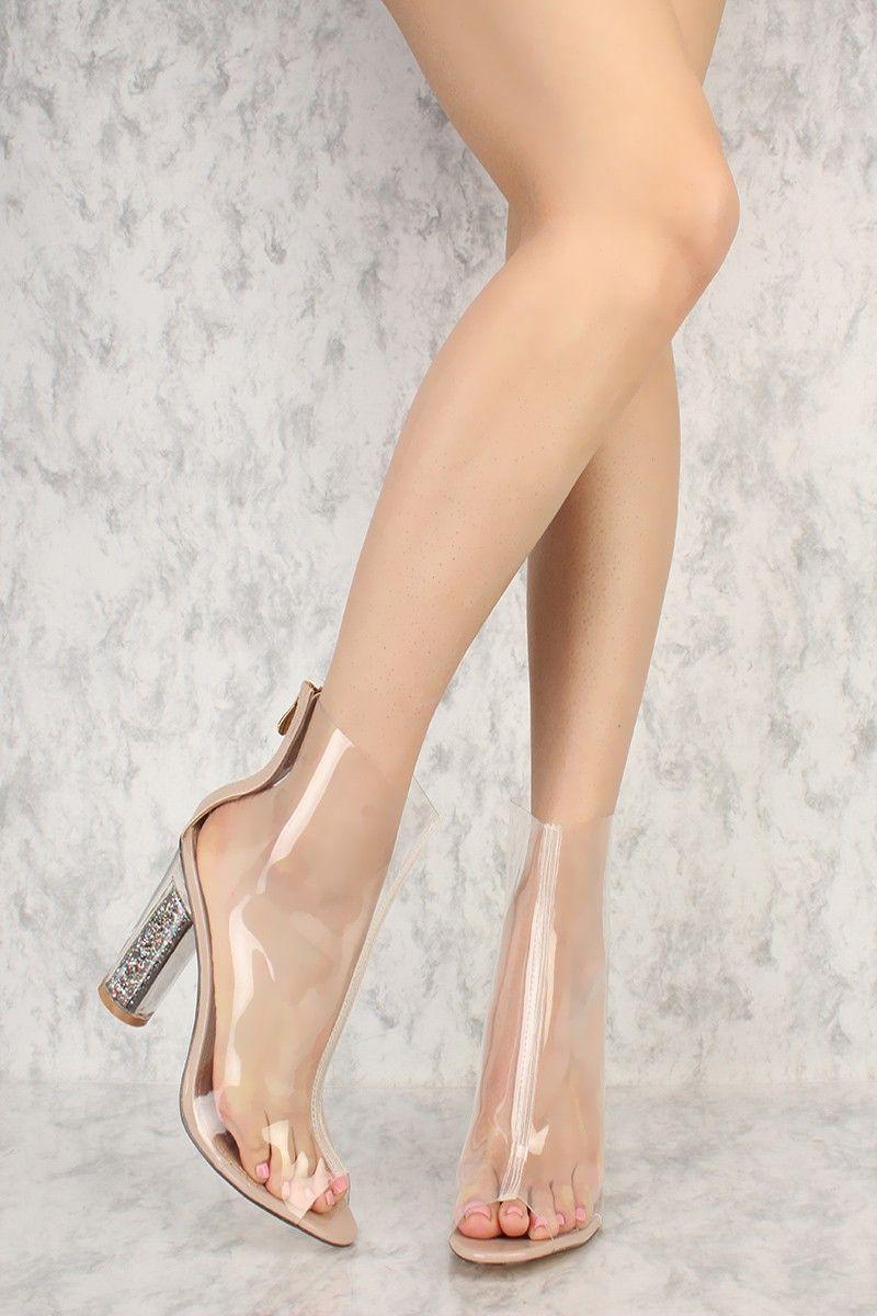 Peep Toe Clear Glittery Chunky Heel Booties Patent