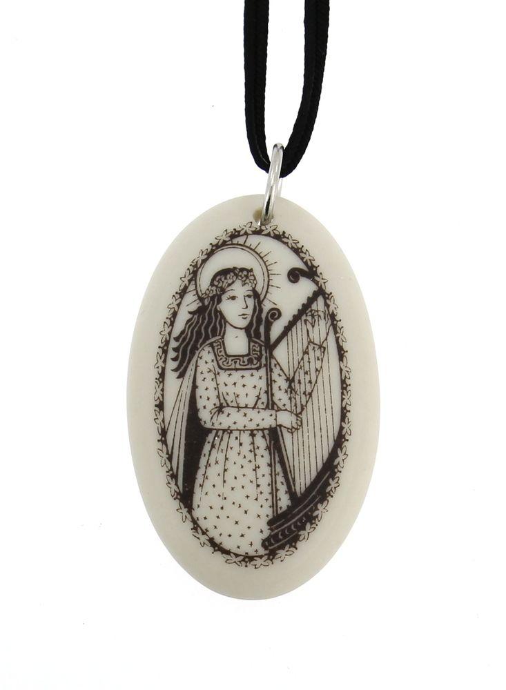 Handmade saint cecilia oval porcelain pendant roman catholic handmade saint cecilia oval porcelain pendant aloadofball Gallery
