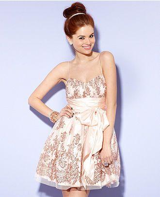 B Darlin Juniors Dress, Spagetti-Strap Lace-Print Full-Skirt ...