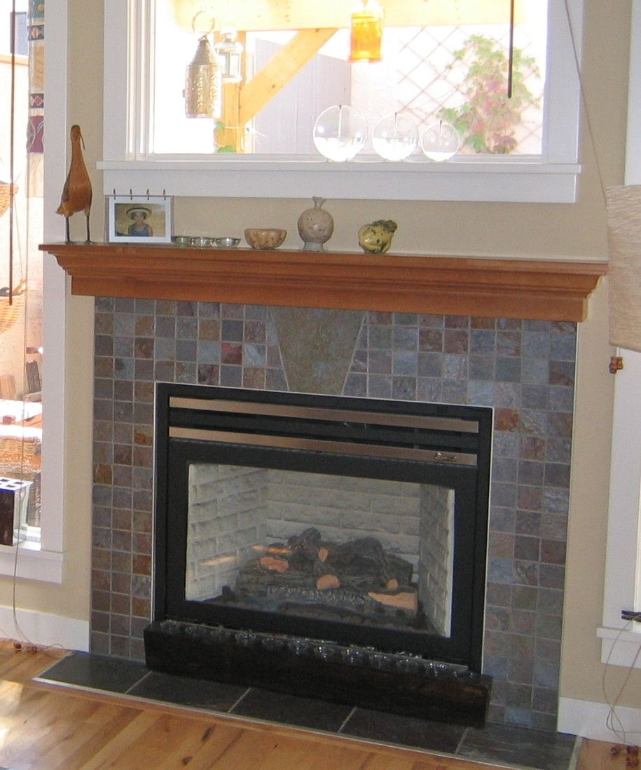 Fireplace with tile surround photos and light oak for Stylish options for fireplace tile ideas