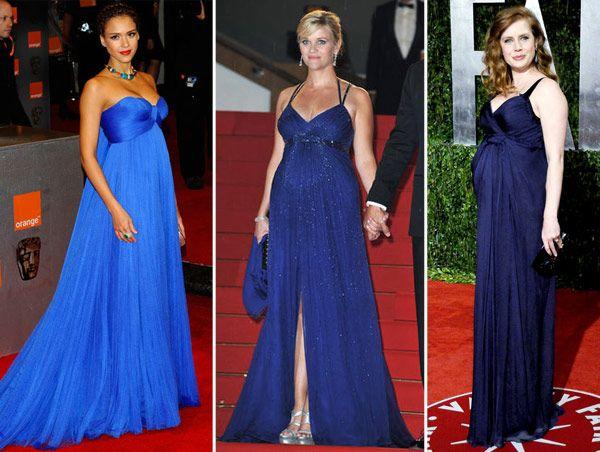 Vestido de madrinha azul para gestante