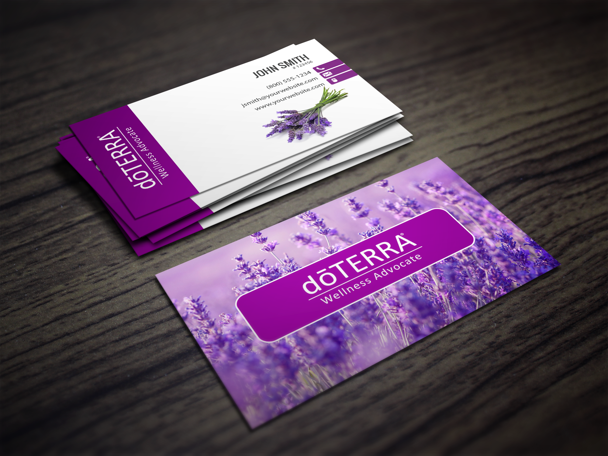 Doterra Business Cards With A Lavendar Field In The Background