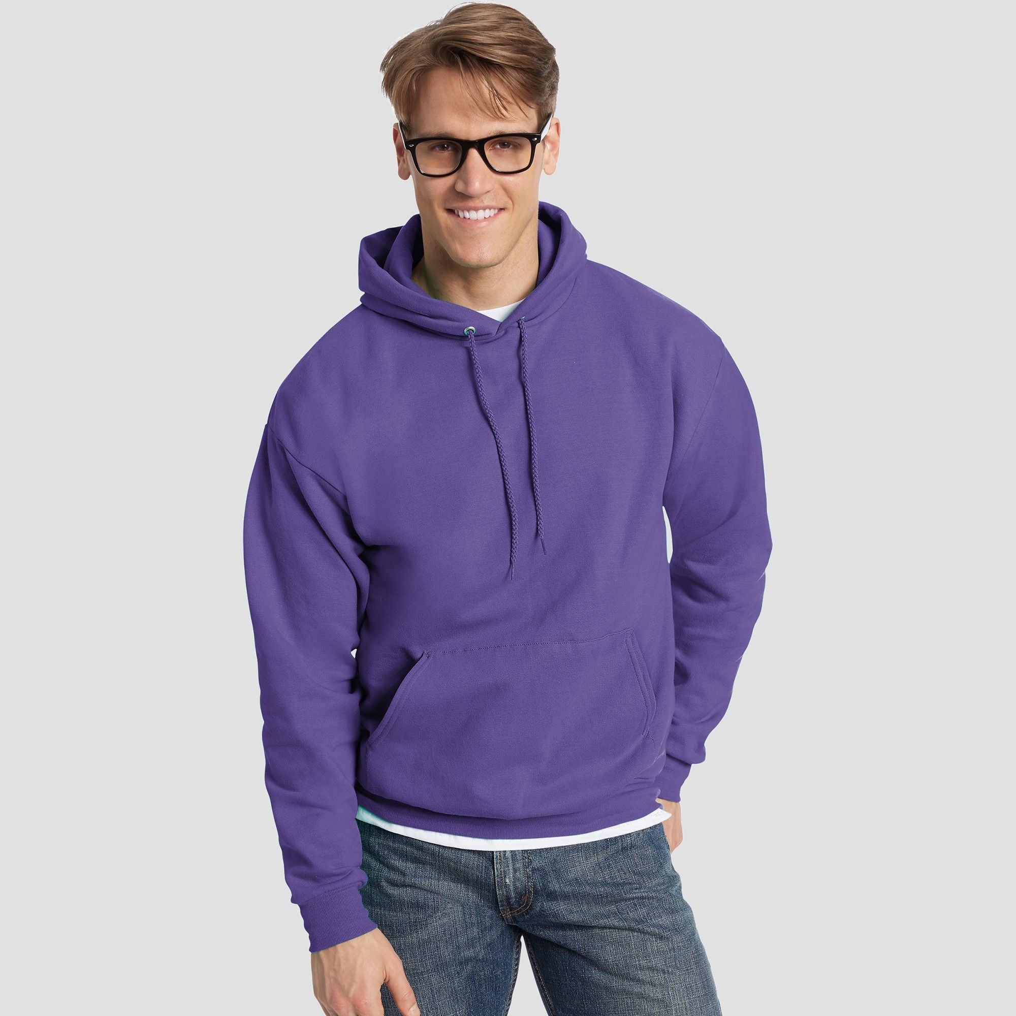 6f2fc31e Hanes Men's EcoSmart Fleece Pullover Hooded Sweatshirt - Purple 2XL ...