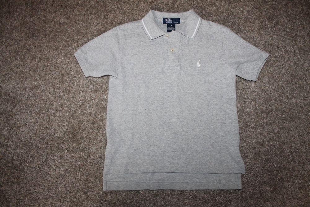 Ralph Lauren Boys Gray White S/ S Polo Shirt W/ Pony Size 4 #RalphLauren #Everyday