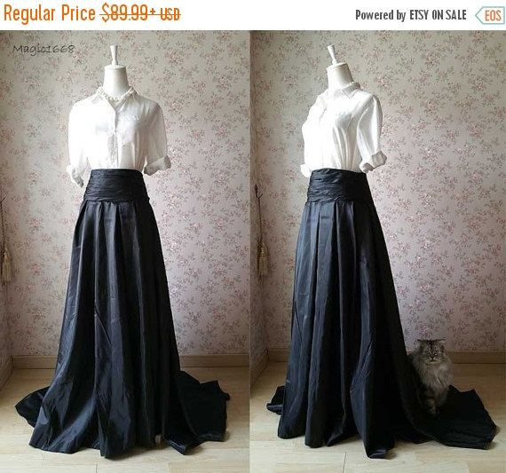 2016 Black Maxi Skirt. High Waisted Maxi Skirt. High Low Floor ...