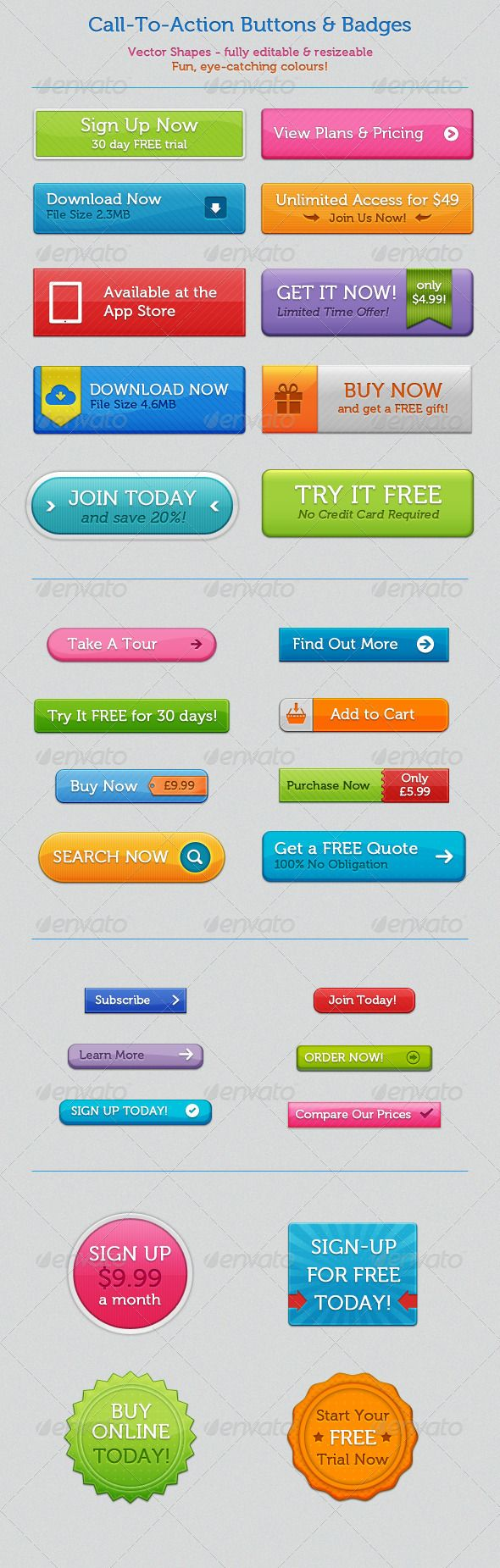 Call To Action Buttons and Badges Template PSD. Download here: http ...