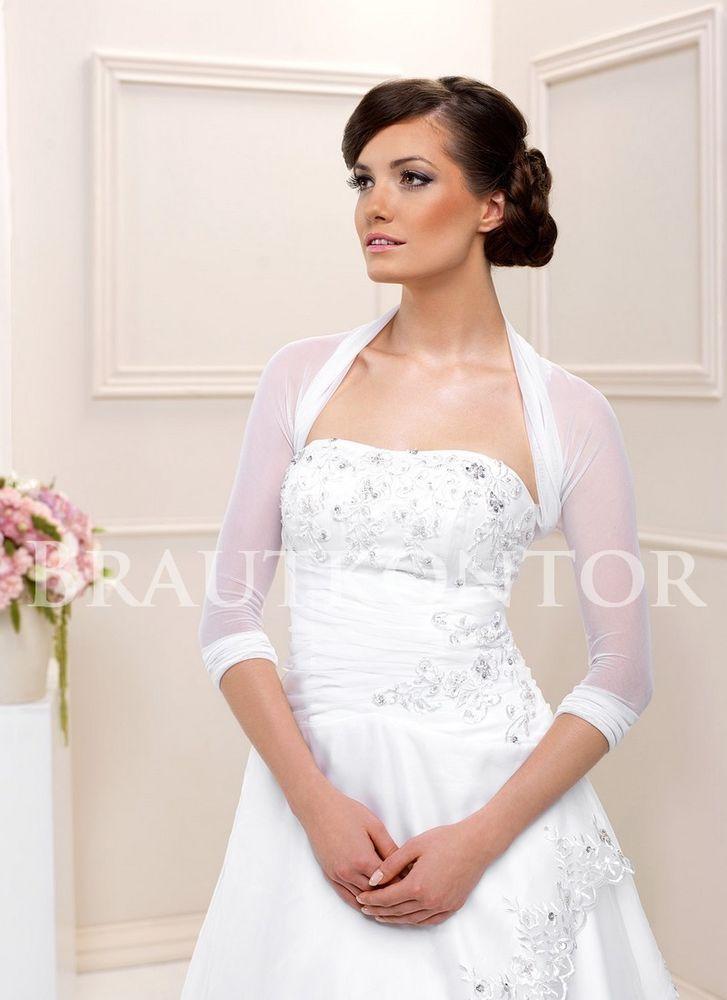 Bk 70 Bolero Stretch Tull Brautbolero Brautjacke Hochzeit Weiss Ivory Gr 36 50 Ebay Brautjacke Abendkleid Braut
