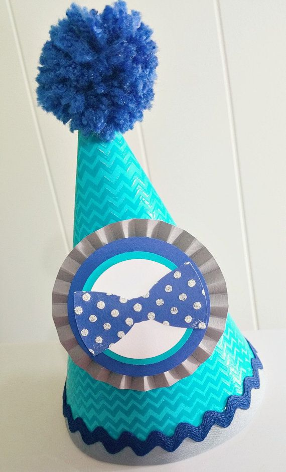 Little Man Bow Tie Chevron Party Hat Navy By CupcakeWishesStore 2075