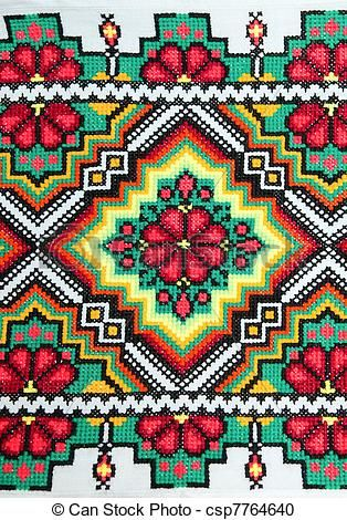 Bestickten gut durch Kreuzstich-Muster. ukrainian ethnischen Schmuck ...