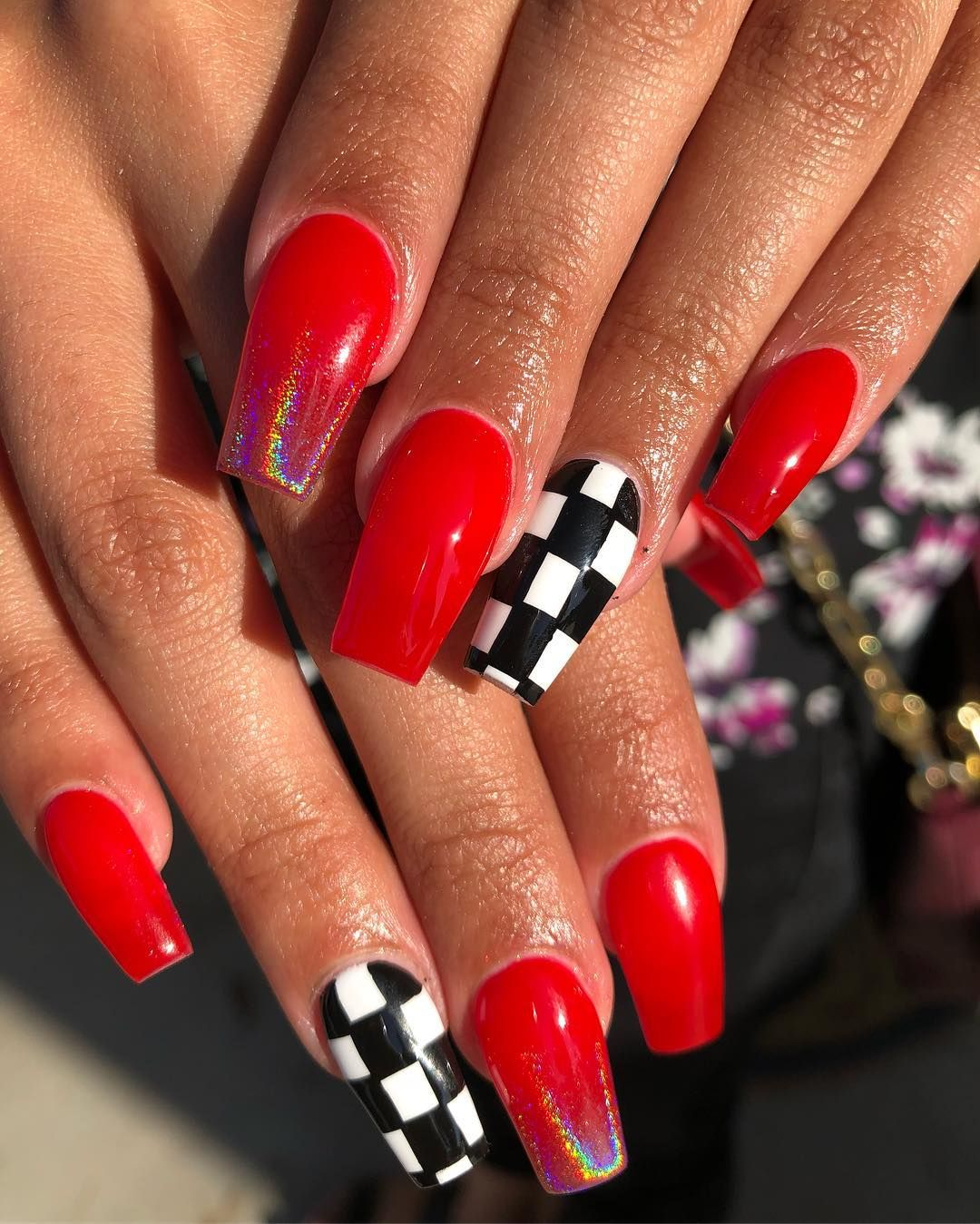 Beautiful Red And Checkered Glitter Acrylic Nails Checkered Nails Nails Red Acrylic Nails
