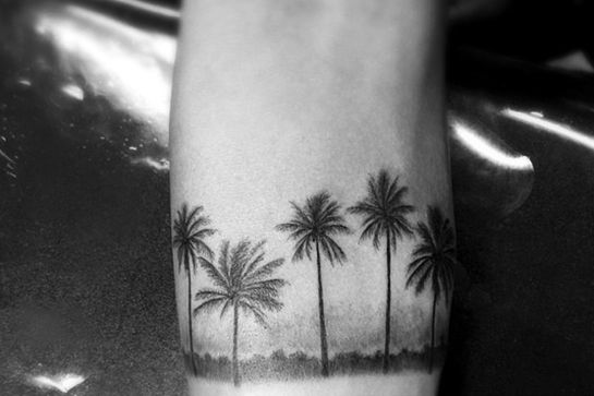 palm tree tattoo black and white - photo #23