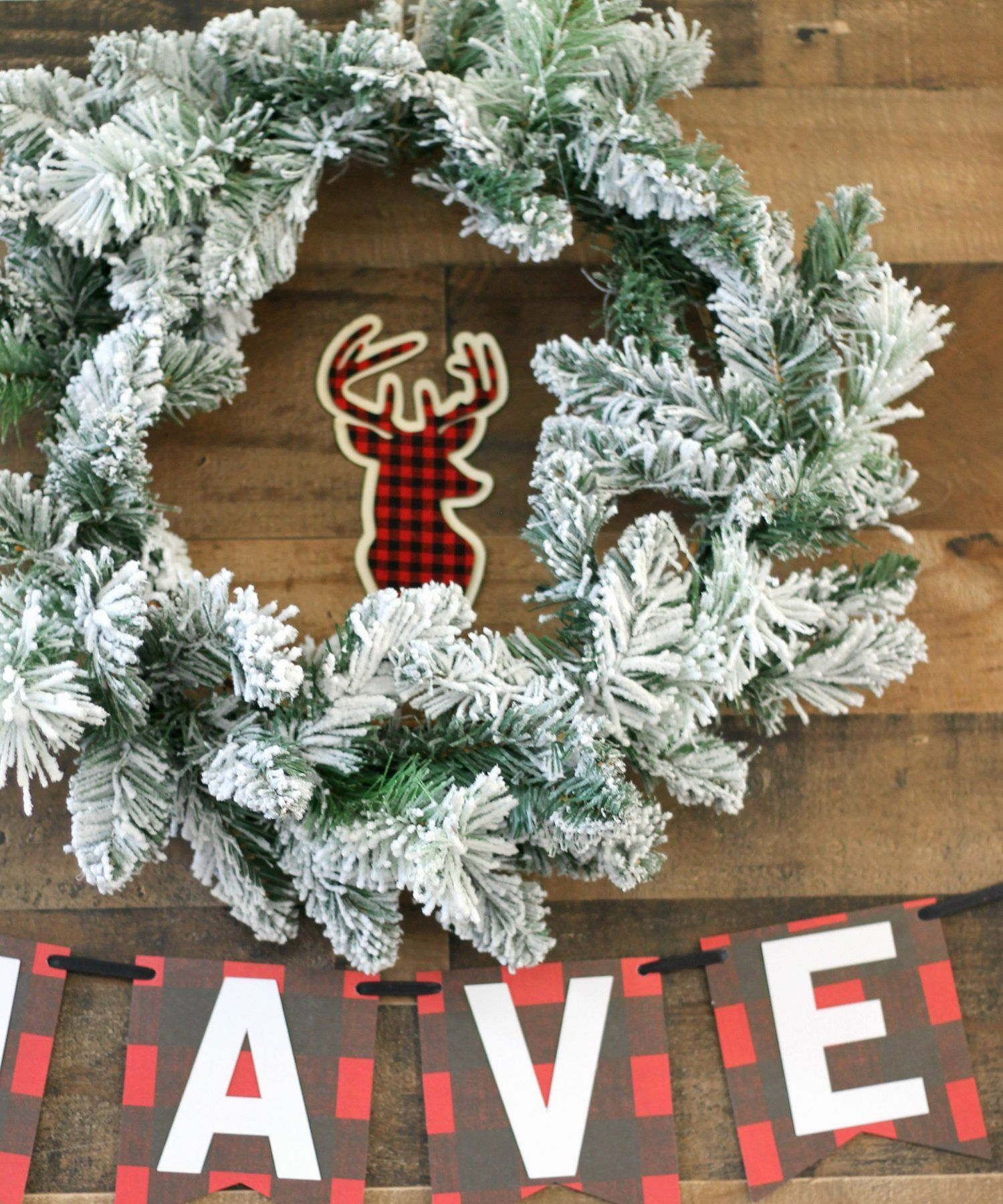 Christmas Party Rustic Party Christmas Party Decor Holiday Wreath Flocking Wreath Decor