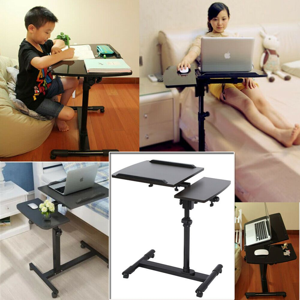 Laptop Table Height Adjustable 360 Swivel Bedside Desk Moveable Notebook Us Affilink Desk Desksetup Ergonomic Computer Desk Bedside Desk Mobile Desk