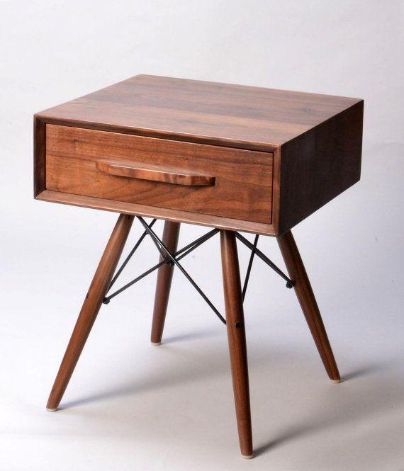 Danish Modern Walnut Wood Side Table With Eames Legs Door