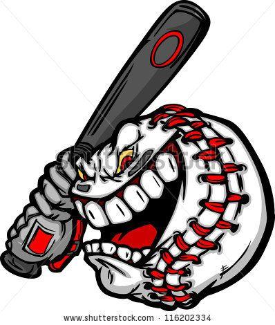 Stock Vector Cartoon Baseball Ball Face Holding Baseball Bat Illustration Vector Baseball Balls Baseball Vector Baseball Tattoos