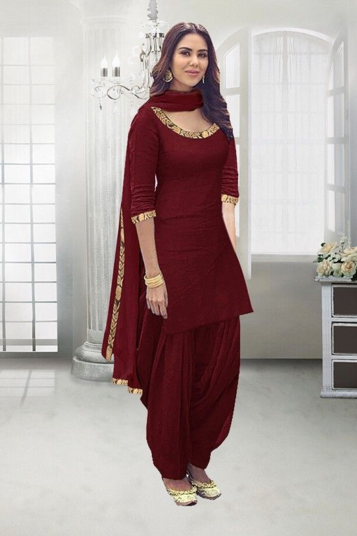Casual Wear Maroon Poly Cotton Patiyala Suit 71324c In