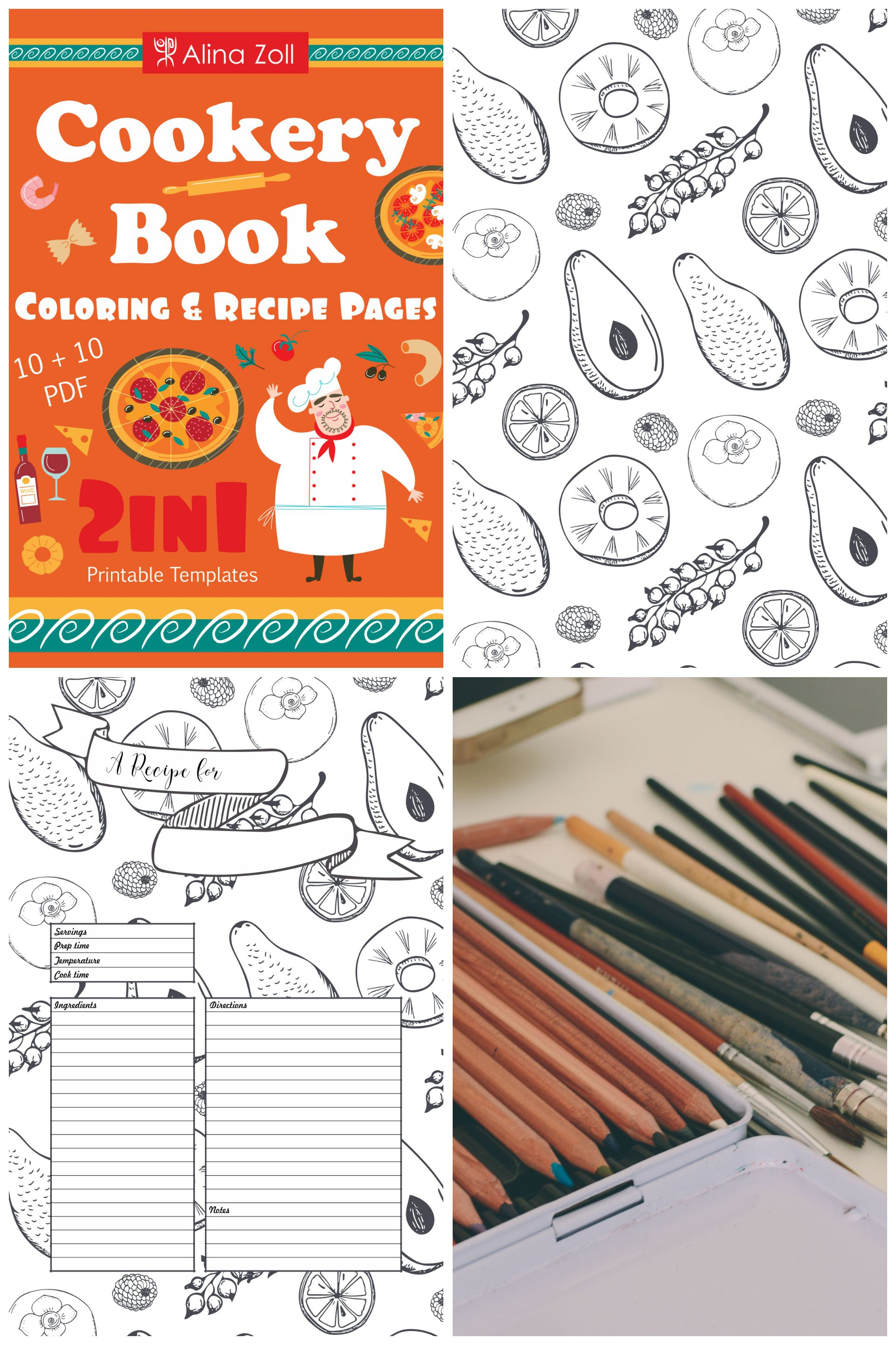 2 in 1 cookery coloring book recipe cards coloring recipe pages food patterns food coloring pdf adult coloring book digital download printable blank