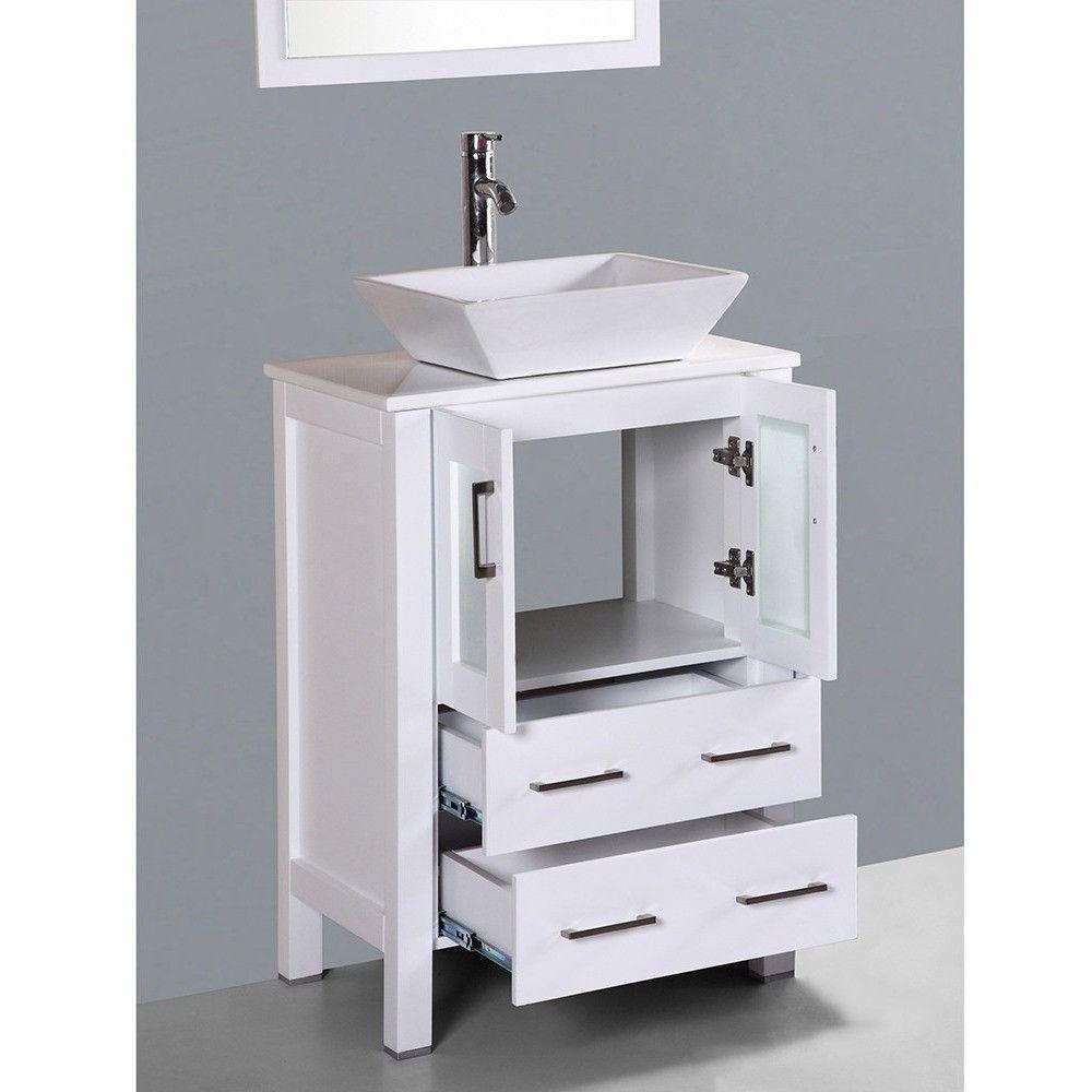 Bosconi 24 White Single Vanity Set With Square Vessel Sink